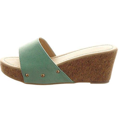 Sopily - damen Mode Schuhe Sandalen Plateauschuhe Nieten - besetzt - Grüne
