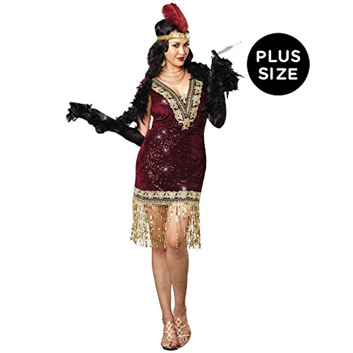 Size Costumes 20s Plus (Dreamgirl Women's Plus-Size Sophisticated Lady 1920s Flapper Party Costume, Burgundy,)