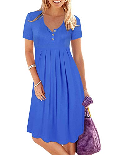 Women's Royal Blue Short Sleeve Button Up Pleated Loose Swing Casual Dresses Knee Length