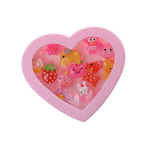 Plastic Heart Box (MonkeyJack Lot of 12pcs Assorted Lovely Plastic Rings in Pink Heart Box Beautiful Gift for Gilrs Birthday Party Bag Fillers)