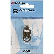 Fix-A-Zipper Size 8 Coil ZlideOn Zipper Pull Replacements, Old Brass