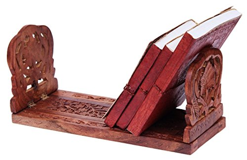 Store Indya Bookends Wooden Handmade Book or CD DVD Stand Rack Holder Shelf Folding Expandable Book End with Intricate Floral by Store Indya