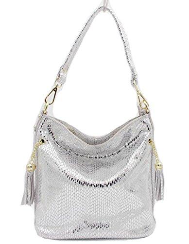 Embossed Shiny Snake - Gouache New Real Leather Shiny Snake Pattern Embossed Female Shoulder Bags