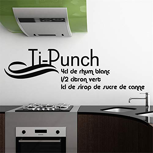 lsenag Wall Stickers Art Decor Decals Recipe Cooking Ti-Punch 4 Cl De Rhum Blanc for Kitchen Dining Room