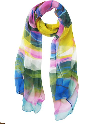 V28 Womens Floral & Graphic Print 100% Silk Great Nature Pattern Scarf (ColorStream)