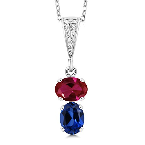 Gem Stone King 2.82 Ct Oval Red Created Ruby Blue Simulated Sapphire 925 Sterling Silver Pendant