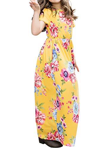 AlvaQ Girls Maxi Dress Short Sleeve Sumemr Beach Casual Loose Full Skirt Plus Size 12-14 Yellow -