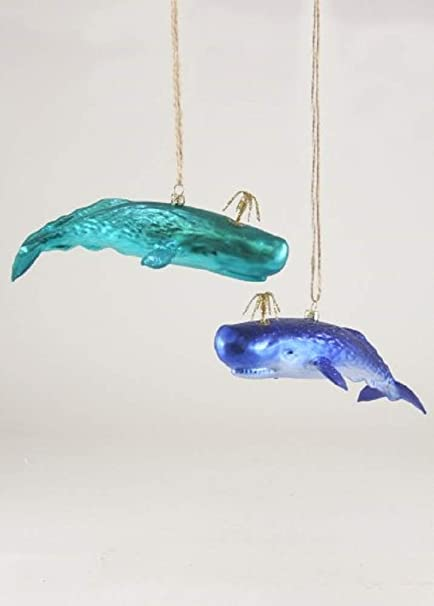 Cody Foster /& Co Humpback Whale Teal Glass Hanging Ornament