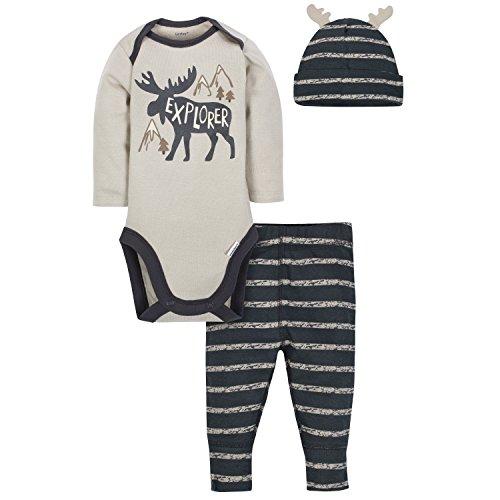 Gerber Baby Boys' 3-Piece Bodysuit, Pant and Cap Set, Moose Stripe, 24 ()