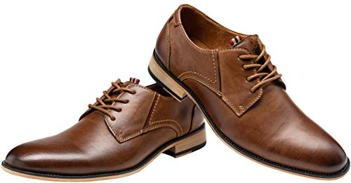 Pictures of JOUSEN Men's Oxford Retro Leather Formal Classic Oxford Dress Shoes 2