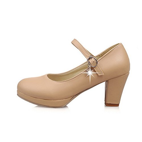 Damen Hoher Absatz Rein Schnalle Weiches Material Rund Zehe Pumps Schuhe, Aprikosen Farbe, 37 AgooLar