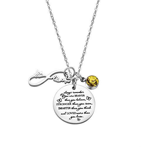 Fullrainbow You are Braver Than You Believed November Birthstone Necklace Infinity Necklace for Women (Nov)]()