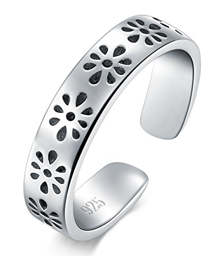 Flower Adjustable Toe Ring (925 Sterling Silver Toe Ring, BoRuo Daisy Flower Hawaiian Adjustable Band Ring)
