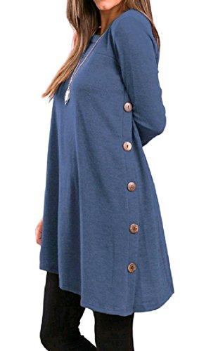donne Settimana Superiore Vestito Elegante Fine Vari Coolred Pullover Orlo Lunga Blu Manica Casuale Mini SqTxwfTCd