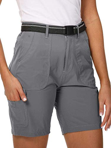 Aiegernle Women's Hiking Cargo Shorts Stretch Quick Dry Cargo Shorts Outdoor Summer Travel Fishing Golf Shorts, Khaki, 38 (US 16)