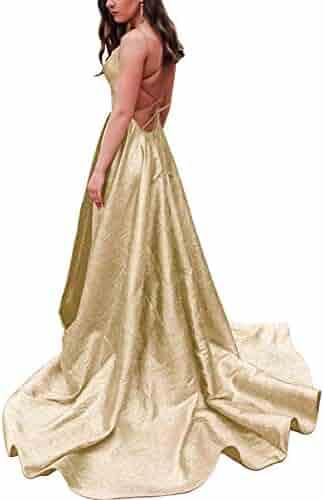 ceaa2b009f3 JASY Women's Spaghetti Satin Long Black Prom Dresses with Pockets
