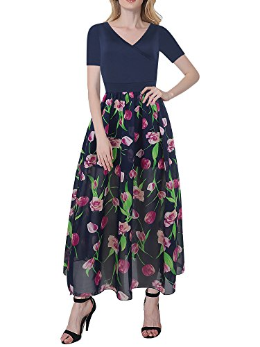 Oxiuly Women's Chiffon Floral Casual Deep V Neck Flowy Pleated Wedding Maxi Dress OX250 (XXL, Navy blue)