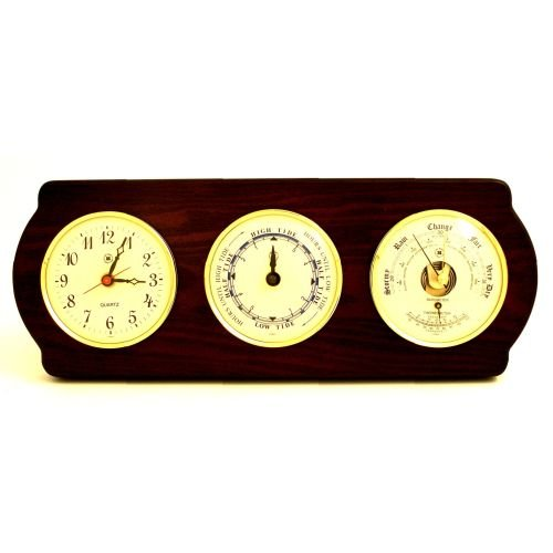 (Bey-Berk WS418 Quartz, Tide Clock and Barometer with Thermometer on Ash Wood with Brass Bezel. Wall Mounts Vertically or Horizontally, Brown)