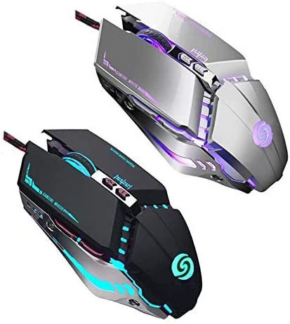 【2 PCS】 Gaming Mouse Wired [3200 DPI] [Breathing Light] Ergonomic Game USB Computer Mice RGB Gamer Desktop Laptop PC Gaming Mouse,7 Buttons for Windows 7/8/10/XP Mac OS / Vista Linux