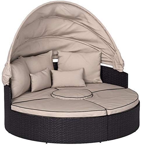 Buy rattan lounger with canopy