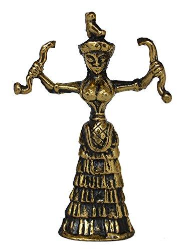 Estia Creations Snake Goddess Bronze Small Figurine - Minoan Period - Palace of Knossos Replica