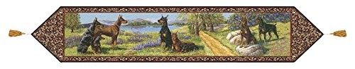 Doberman Pinscher Tapestry (Gone Doggin Doberman Pinscher Table Runner - Exclusive Dog Lover Gifts in Multi-color Tapestry)