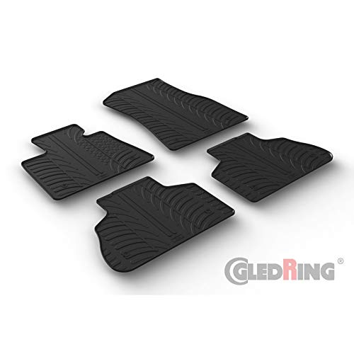 Gledring 0500 Rubber car mats Set BMW X5 Black 2018- G05 T Profile 4-Pieces + mounting Clips