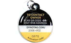 Dynotag Web Enabled Smart Deluxe Steel Property ID Tag + Steel Ring, with DynoIQ & Lifetime Recovery Service.