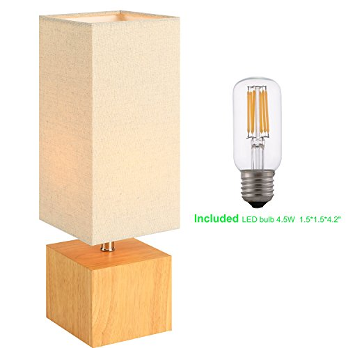 White Linen Shade Plug (Wood Table &Desk Lamp , Nature Wooden Color Base And Warm Grey Linen Shade, Bedside Lamp For Living Room, Bedroom, Study , Guestroom ,Includes 4.5W LED Bulb)