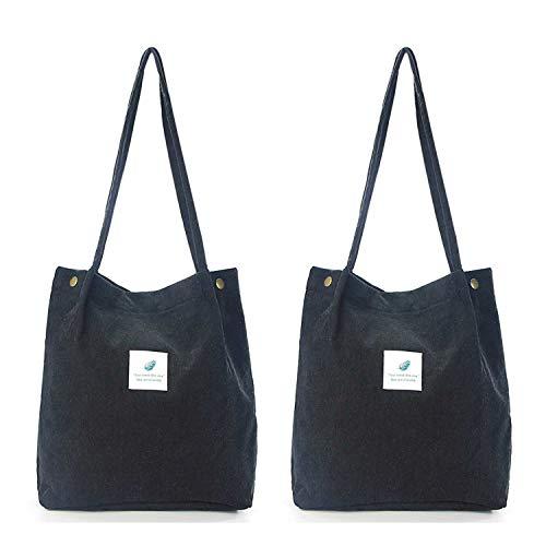 SteamedBun Minimalist Corduroy Tote Bag for Girls Medium Shoulder Hobo Bags Casual Shopping Travel Purse (Black(2 Pack))