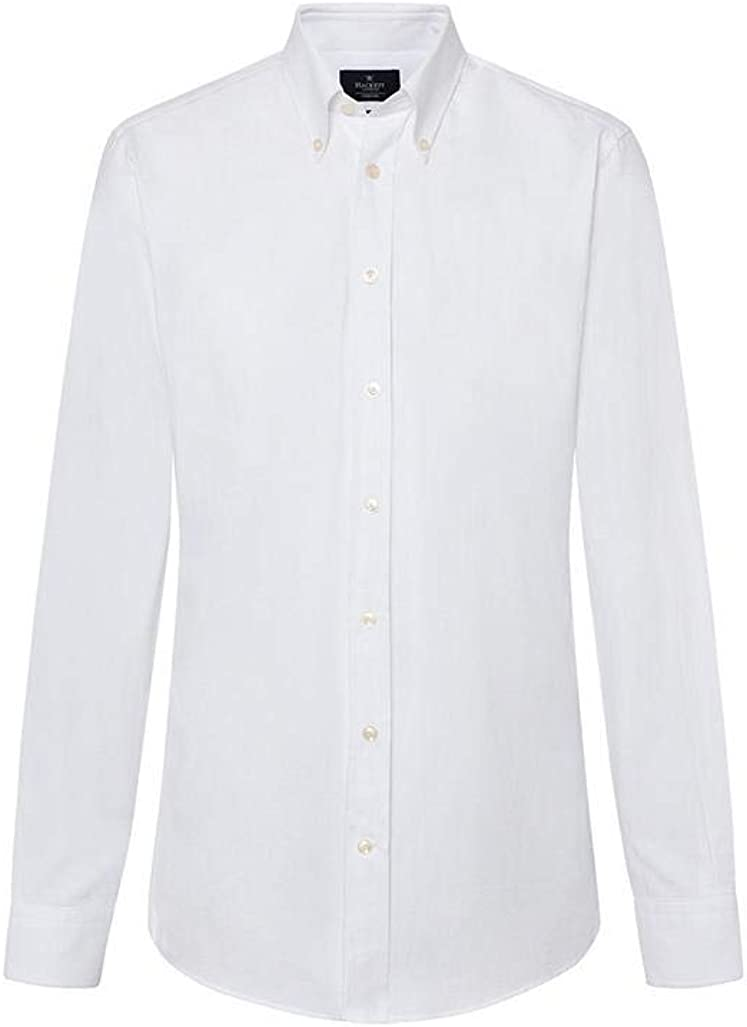Camisa Hackett Washed Oxford Blanco Hombre M Blanco: Amazon.es: Ropa y accesorios