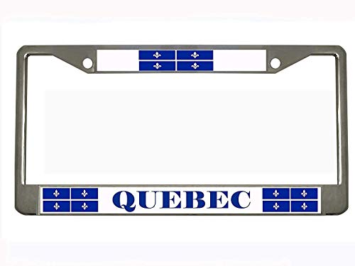 Quebec Canada Chrome Metal License Plate Frame Tag, used for sale  Delivered anywhere in USA