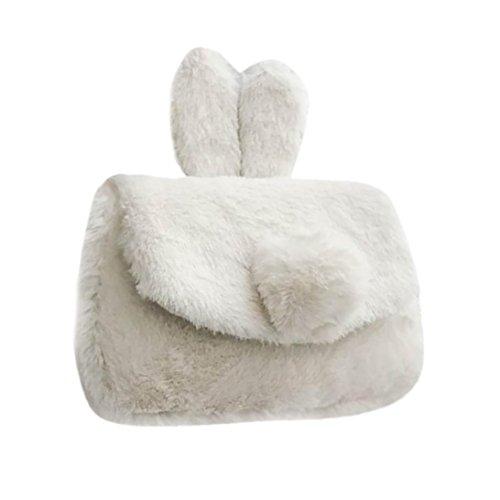 White Rabbit Bag (Efaster Ladies Women Ms. Zipper Rabbit Ears Fluff Shoulder Bag Handbag Messenger Bag (White))
