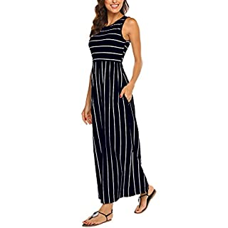 Hount Women's Summer Sleeveless Striped Flowy Casual Long Maxi Dress with Pockets (Navy Blue, Large)
