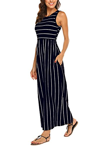 Hount Women's Summer Sleeveless Striped Flowy Casual Long Maxi Dress with Pockets (Navy Blue, XX-Large)