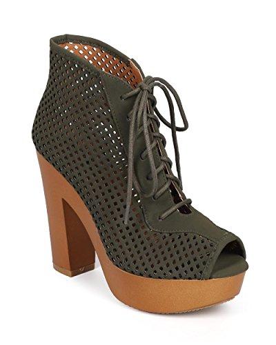 Qupid DK29 Women Nubuck Perforated Peep Toe Lace Up Chunky Heel Platform Bootie - Olive