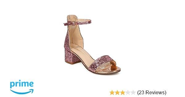 e9ddca180e89 Thentic Irene Women Open Toe Chunky Heel Ankle Strap Sandal HC55
