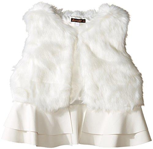 Ella Moss Girls' Slim Size Loren Faux Fur Ruffle Vest, Off White, 14