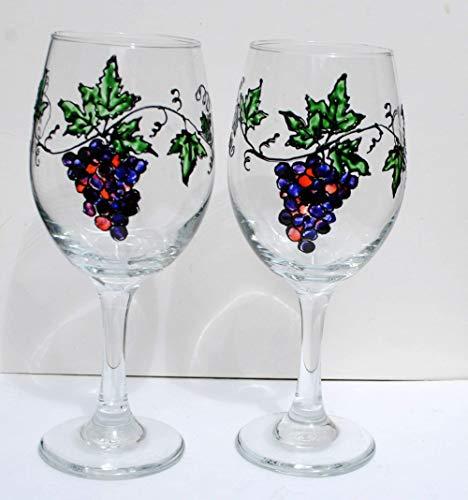 - Purple Grape Vine Hand Painted 20 oz. Stemmed Wine Glasses (Set of 2) Home Decor