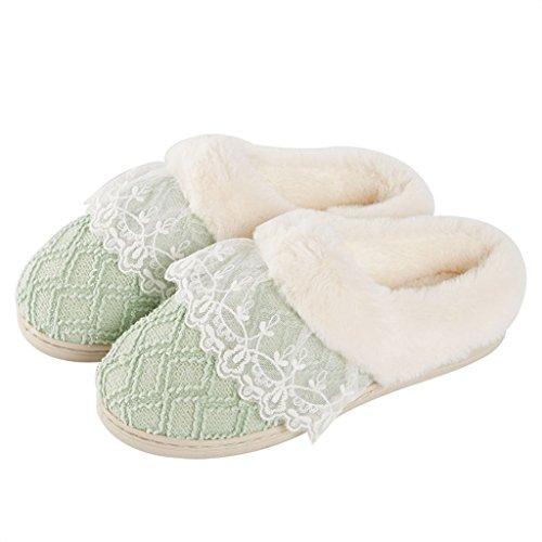 Hausschuhe DWW-Taihewen Firms Baumwolle Hause Innen Dicke rutschige Warme Wasserdichte Bequeme Schuhe Grün