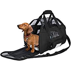 KritterWorld Soft Sided Pet Carrier Travel Bag for Small Dogs and Cats Small Animals Airline Approved with Removable Sherpa Lining Bed and Lost & Found Tag Black
