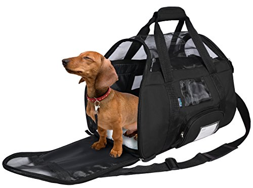 KritterWorld Soft Sided Pet Travel Carrier for Small Dogs and Cats Puppy Small Animals Airline Approved | Removable Sherpa Lining Bed, Built-in Collar Buckle, Lost & Found Tag Included by Black by KritterWorld (Image #7)
