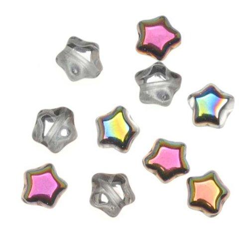 Jablonex Czech Glass Beads Crystal Vitrail Tiny Stars 6Mm  25