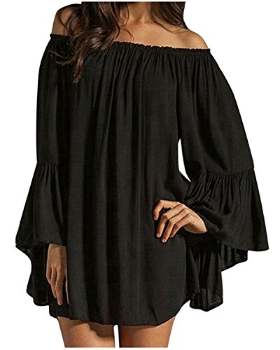 ZANZEA Women's Sexy Off Shoulder Chiffon Boho Ruffle Sleeve Blouse Mini Dress Black 3XL (Lace Belted Belt)