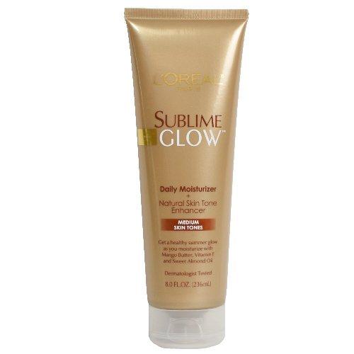 Skin Tone Enhancer - L'Oreal Paris Sublime Glow Daily Body Moisturizer and Natural Skin Tone Enhancer, Medium, 8 oz. (Pack of 3)