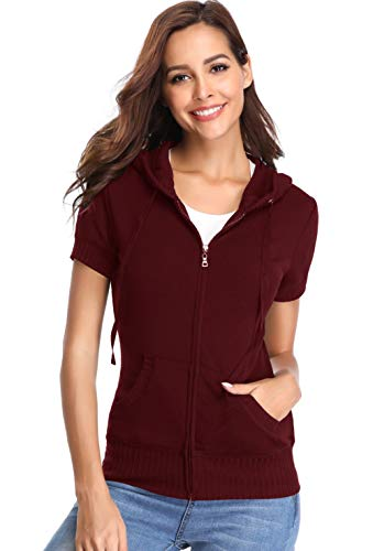 Denim Full Shirt Short Sleeved - MISS MOLY Short Sleeve Workout Jackets for Women Zip Up Running Hoodie Casual Sweatshirt with Pockets Wine Red