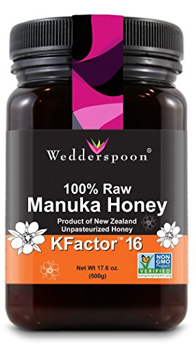 Wedderspoon 100% Raw Premium Manuka Honey KFactor 16+, 17.6 oz