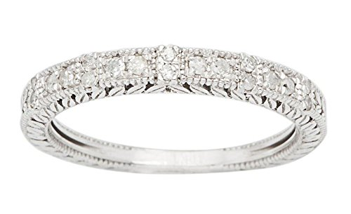 10k White Gold Vintage-Style Engraved Diamond Wedding Band (1/5 cttw, I-J, I2-I3) by Instagems