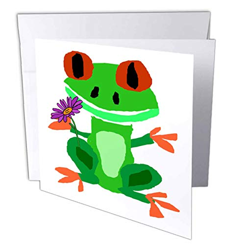 3dRose All Smiles Art - Animals - Cool Funny Green Tree Frog with Daisy Flower Primitive Art Cartoon - 12 Greeting Cards with envelopes (gc_309652_2)