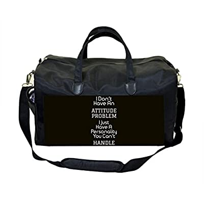 2b6c713f6a83 Attitude Quote in Black   White PU Leather and Suede Weekender Bag low-cost